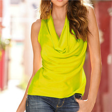 2017 New Hot Fashion Women Summer Sexy Cowl Neck Vest Tops Ladies Casual Sleeveless Solid Draped Wrap Tank Blouse Shirt