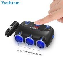 Voulttom 12V/24V Dual USB Car Charger 120W 3-Socket Cigarette Car Lighter Power Adapter DC Outlet Smartphones GPS