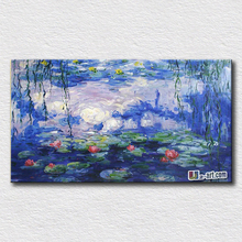 Famous home decoration wall art canvas flowers oil painting by Monet water lily pictures for friends gift(China)