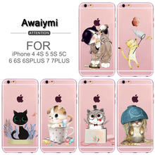 For iphone 7 Case The Cute Glasses Cup Cat Catches Fish Sketch Silicone Soft TPU Cover for iphone 5/5s/SE/6/6s/6splus/7/7plus/8