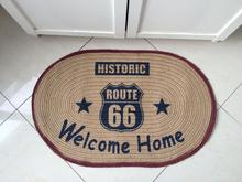 LIU linen American country Bangladesh flax mat room Highway route 66 road welcom home carpet hallway toilet tapetes