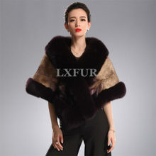 Luxurious Womens Import Denmark Mink Fur Shawls with Finland Fox Fur Collar Ponchoes Deluxe Wedding Apparel & Accessory LX00399