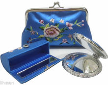 Chinese Handmade Blue Embroidery Cosmetic Mirror&Lipstick Box Purse Gift Set(China)