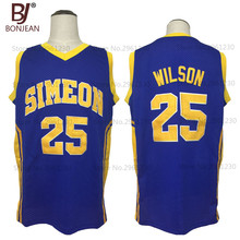 BONJEAN 2017 New Cheap Ben Wilson #25 Simeon High School Throwback Basketball Jersey Blue Quality Stitched Mens Shirts(China)