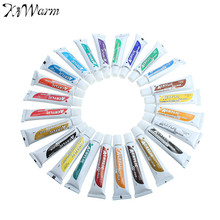 KiWarm Hot 24 Colors 12ML Tube Acrylic Paint Set with Brush Water resistant Textile Paint Art Painting For Beginner Artist Kids