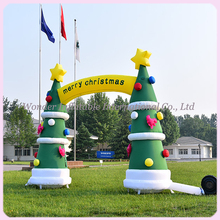 4.5mWide giant inflatable christmas arch,inflatable christmas tree arch,outdoor inflatable christmas decoration