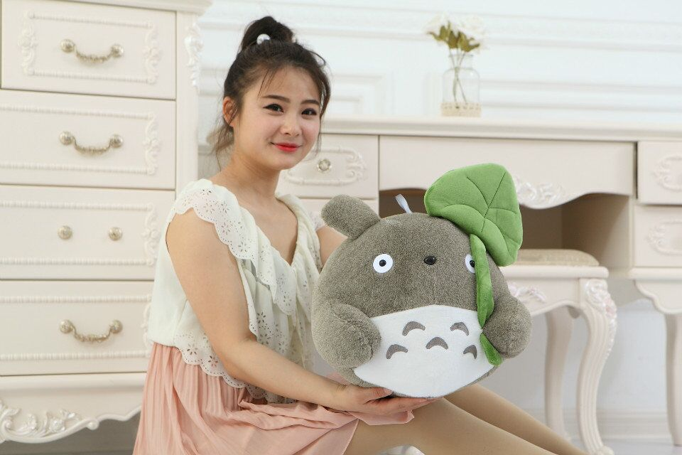 middle lovely plush Totoro toy Lotus leaf  totoro doll classic expression totoro doll gift about 45cm<br><br>Aliexpress