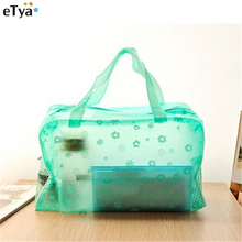 1PC Candy Colors Translucent Floral Waterproof Cosmetic Storage Bags Zipper Net Travel Bath Bag For Towel Soap Washing Product