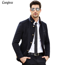 2017 New Winter Thick Warm Overcoat Mens Wool Coat Men Stand Collar Fashion Design Jackets Outwear Business Style Clothing XXXL
