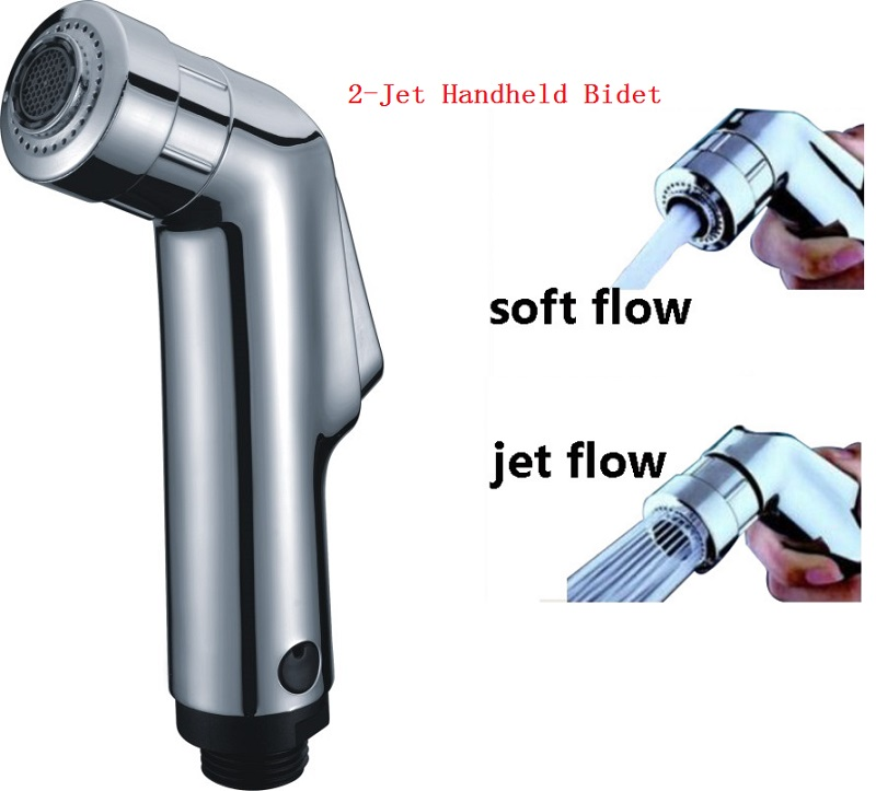2-Jet High Quality Hand Held Bidet Portable Bidet Shower Hand Held ABS Spray Chrome Plated Bidet Faucet Free Shipping(China (Mainland))