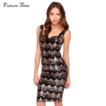 British style medium long one-piece vestidos New 2016 Summer black gold crescent embroidery sequin paillette women dress C1122