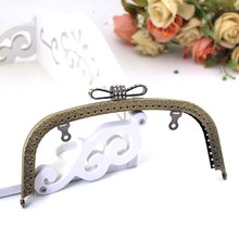 K108 antique brass bow-knot Diamond arc-shaped Kiss Clasp 18.5cm 2pcs/lot DIY Metal purse frame handle bag(China)