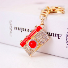 New Creative Camera Key Chain Fashion Keychain Car Key Ring Rhinestone Alloy Keyrings Bag Charm Pendant Promotional Gifts(China)