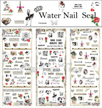 3 Sheets/Lots Nail Water Transfer Stickers Decals Manicure Watermark Stickers Tips HOT253-255 Paris Vintage Chic Style