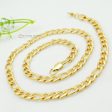 GOKADIMA gold-Color NK Mens figaro chains with lobster clasp fashion man's stainless steel necklace Father Gift Jewelry WN428