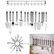 12pcs Stainless Steel Kitchen Utensil Gadget Set with Hanging Rack / Holder Spoon Slotted Spatula Kitchenware Tools
