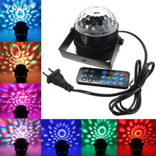 ZINUO DMX Sound Activated 3W RGB LED Mini Crystal Magic Ball Effect LED Stage Lights Laser Projector Disco DJ Light Party Lights(China)
