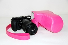Factory For Canon EOS M3 Camera PU Leather Case Bag + Strap 18-55mm 55-200mm Lens Cover Pouch Free Shipping Pink