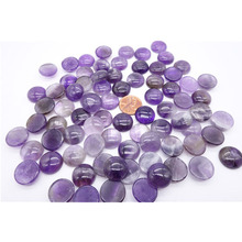 50pcs/lot Wholesale 7 size natural Gem stone mixed round CAB cabochon high purple crystal stone beads jewelry no hole(China)