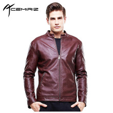 ACEMIRIZ 2017 Mens Leather Jacket PU Zippers Slim Coats Cutting Autumn Winter Coat Leather Basic Men Jackets Hot Sale HT-8602
