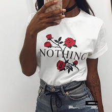 [100% Cotton] 2017 Summer T-Shirt Women Fashion White Nothing Letter Print Rose Casual Knitwear Short Sleeve Punk Tees Shirt