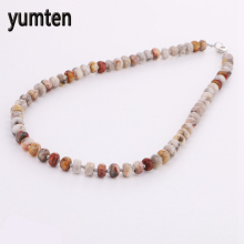Yumten Colorful Jade Necklace Power Round Natural Stone Crystal Women Gift Jewelry Kettingen Juego Tronos Hippie Wholesale 5 PCS(China)