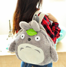 School Plush Backpack ; BIGGER 37*39CM Fits Lady Girls Kids & Adult Kawaii Green Leaf TOTORO Plush Backpack Shoulder(China)