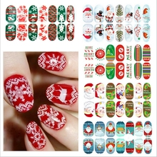 New Year Nail Stickers Christmas Water Sticker Decoration Lace Nails New Year Stickers on the Nails(China)