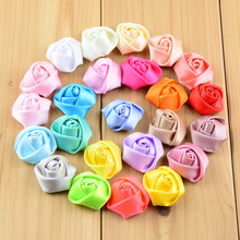 500 pcs/lot , 0.98 inch Mini Rolled Rosette, Satin Flower, Petite Flower, You Choose Colors(China)