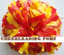 cheerleading Pom poms custom color plastic red and yellow handmade new hot sale