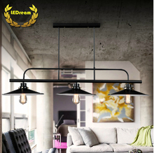 Free shipping rectangel  pendant light Loft northern French rural industry a buffet restaurant 3 heads pot droplight led e27