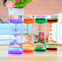 Floating Color Mix Illusion Timer Liquid Motion Visual Slim liquid Oil Glass Acrylic Hourglass Timer Clock Ornament Desk Decor