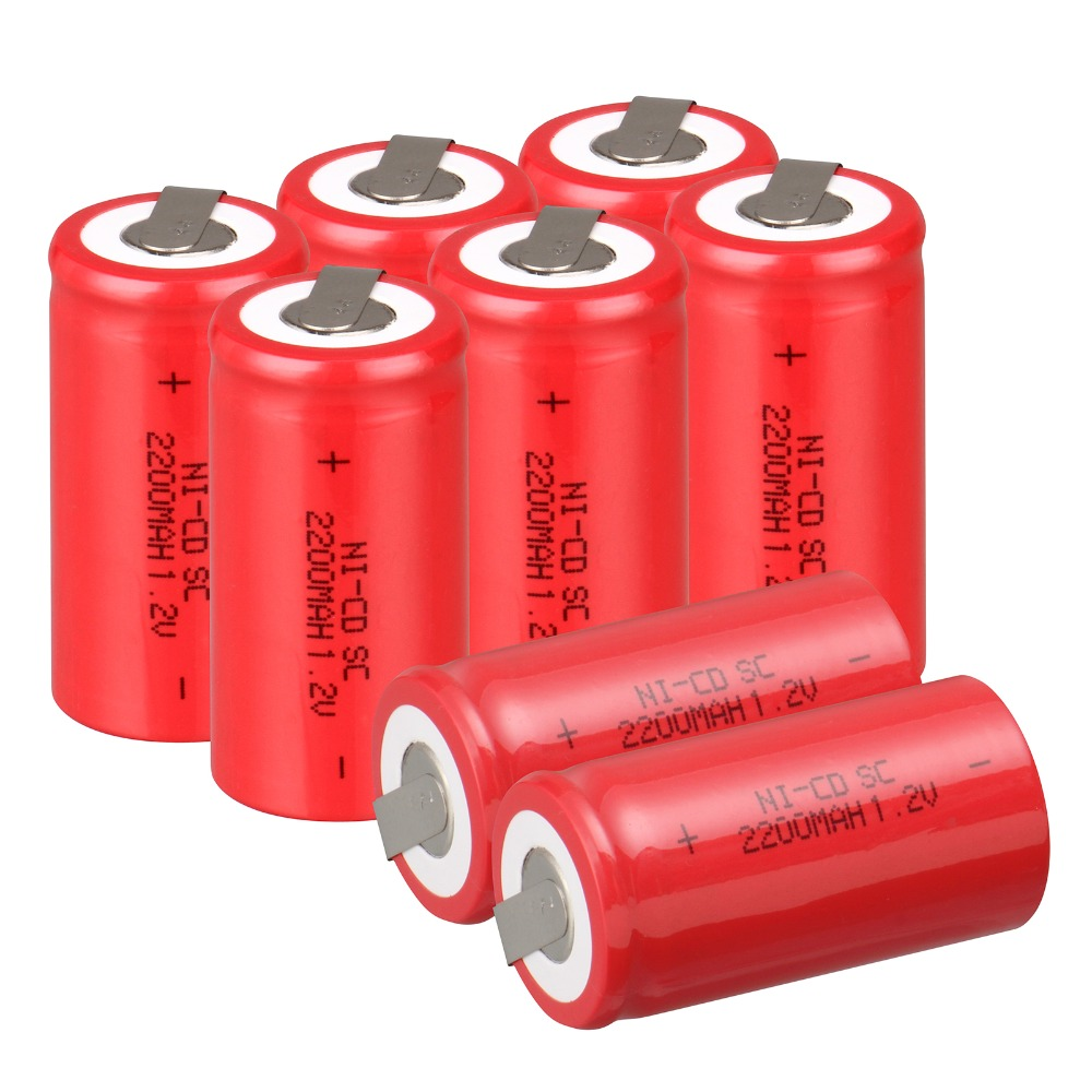 High quality ! 8 PCS Sub C SC battery rechargeable battery 1.2V 2200mAh Ni-Cd Ni-Cd Battery Batteries -Red Color 4.25*2.2cm<br><br>Aliexpress