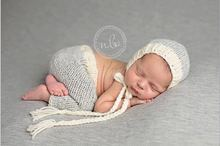 Full Set Hand-knitted Cotton Baby Bonnet Hat with Pant for Newborn Baby Photography Props Baby Shower Gift Props