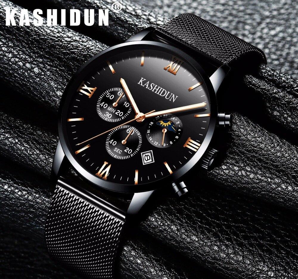 KASHIDUN. Mens Watches Luxury Military Luminous Casual Wrist Watch Chronograph Mesh Alloy Steel Quartz Watch relogio masculino<br>