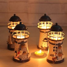 Hot-selling Mediterranean-style Lighthouse Wrought Iron Candlestick Candle Holders Home Decoration Candlestick T16 0.5(China)