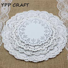 "YPP CRAFT 4.5""&5.5""6.5""&8.5""Mixed Sizes Round Lace Flower Paper Doilies Placemat for DIY Scrapbooking Paper Crafts(China)"