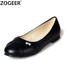 Plus Size 34-46 Sweet Women Flats 2017 Spring Autumn Loafers Flat Shoes Woman Casual Nurse Work Shoes Women Black Red White(China)
