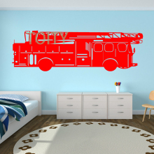 FIRE ENGINE vinyl wall art sticker Nursery decal M H38cm x W120cm L H57cm x W180cm