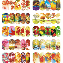 1 Sheet Water Transfer Nail Art Sticker Gold Maple Leaf Patterns Fall Designs Colorful  landscape Full Wraps Tip A1201-1212