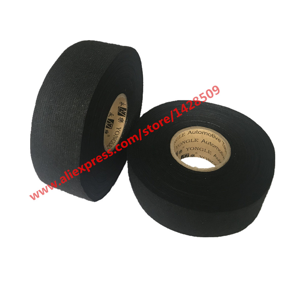 Black 20m x 19mm Acetate Tape Adhesive Cloth Tape Car Wire Harness Tape