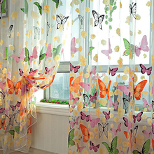 Pastoral Style Butterfly Print Transparent Curtain Color Window Balcony Tulip Room Separated Line Transparent Curtain