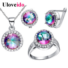Designer Women Jewelry Set Bague Silver Cubic Zirconia Costume Jewellery Bridal Earrings Necklaces & Pendants Uloveido T484