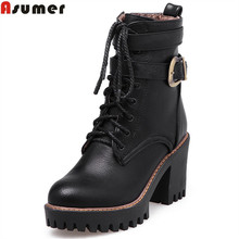 Asumer fashion new arrive women boots black wine red boots brown zipper lace up buckle ankle boots platform ladies boots(China)