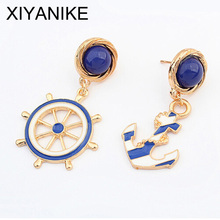 Good quality NEW 2014 Fashion Jewelry Rhinestone Anchors Stud Earring For Women statement earrings Christmas Gift  XY-E258