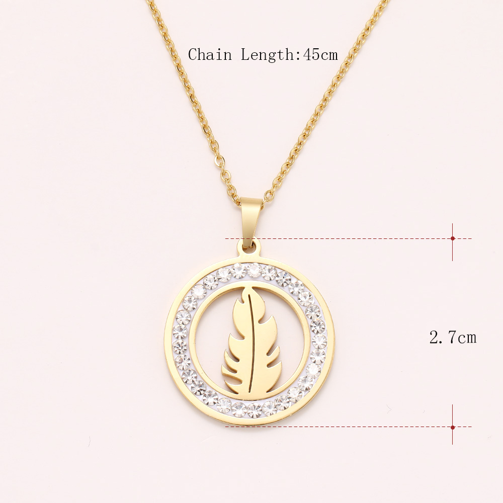 Cacana Stainless Steel Crystal Round Pendants Necklace Women Jewelry Feather Trendy Necklaces Donot Fade Valentine's Day Gift (1)