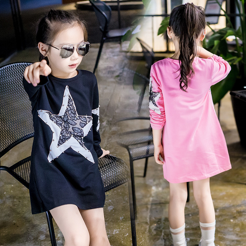 red pink black dress girls clothes new 2017 autumn kids girls dress shirt long sleeve star pattern dress tops children clothing<br><br>Aliexpress