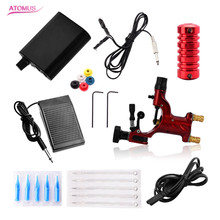 Complete Tattoo Machine Kit Red Tattoo Dragonfly Machine Power Cord Clip Cord Foot PedalTattoo Beginner Kits Permanent Makeup