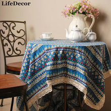 Bohemian Style Quality Cotton & Linen Lacework Dining Tablecloth Multi Functional Table Cloth for Party Iicnic Outdoor Use