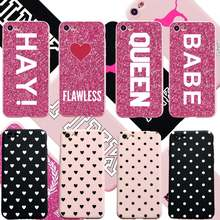 Hot Black White Heart Dots Soft TPU Case For iPhone 6 6S Plus Pink Queen Cover Silicon for iphone X 7 8 Plus 5S SE Cover Lovely(China)